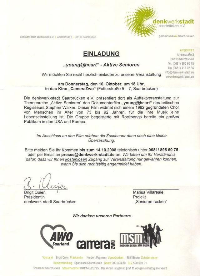 Einladung für 16. Oktober 2008